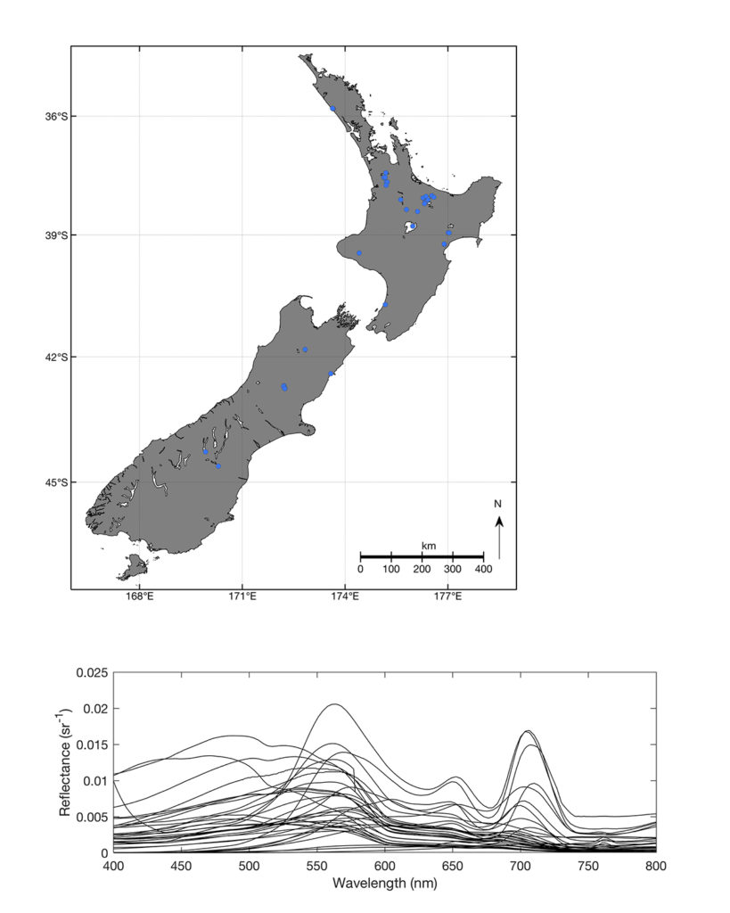 One map of New Zealand showing locations where data was collected, and a graph showing reflectance spectra from lakes at locations shown in the map.